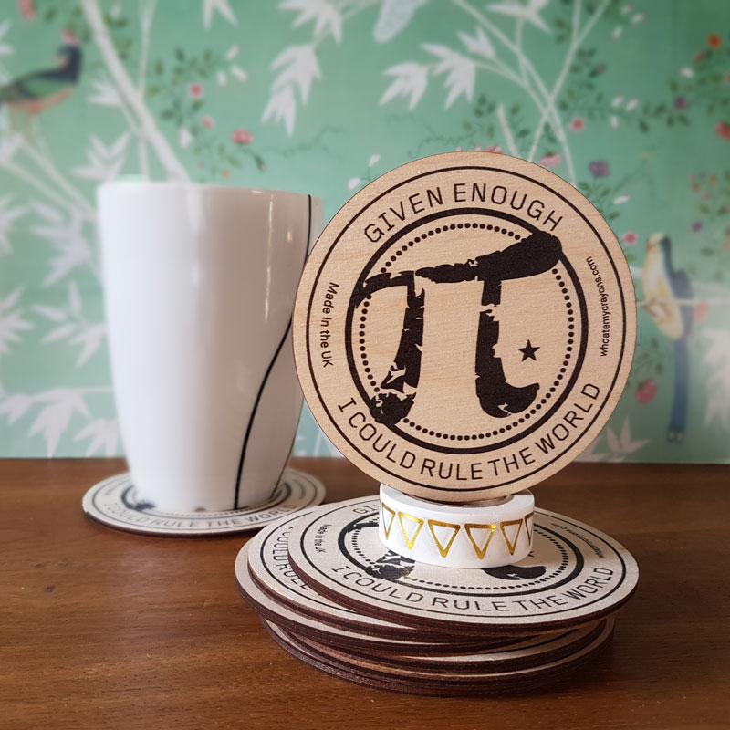 Pi Wooden Geek Nerd Coaster