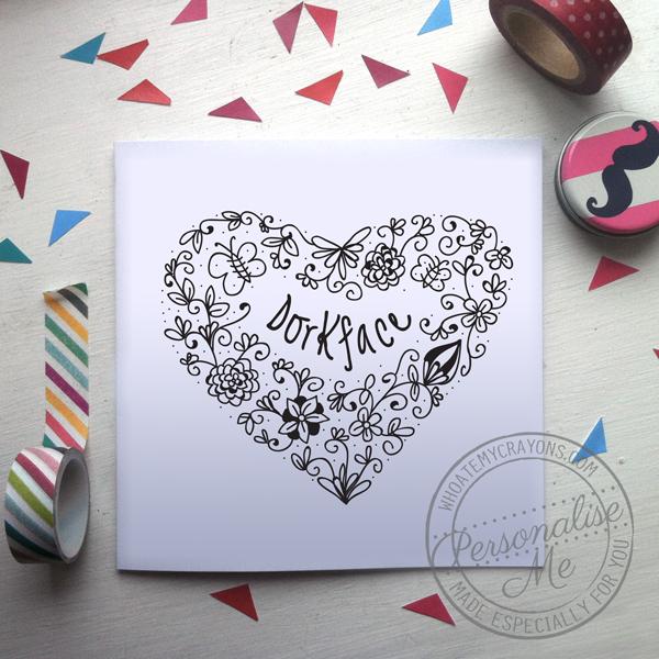dorkface valentine's card